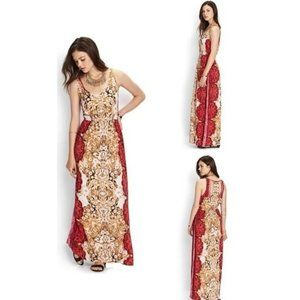 FOREVER 21 RED PAISLEY MAXI DRESS L